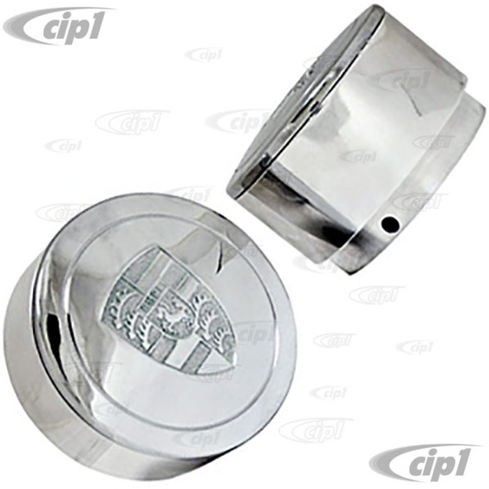 C13-10-1107 - EMPI - BILLET POLISHED ALUMINUM TALL LOGO CENTER CAPS FOR 911 STYLE AND GAS-BURNER STYLE WHEELS (FIT 70MM DIA. HOLE) - SOLD PAIR