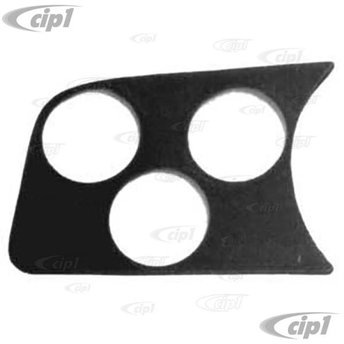 C13-14-1001 - 3 HOLE GAUGE PANEL - LEFT SIDE OF DASH 58-77 STD BEETLE FITS ALL 2-1/16 inch GAUGES - BLACK