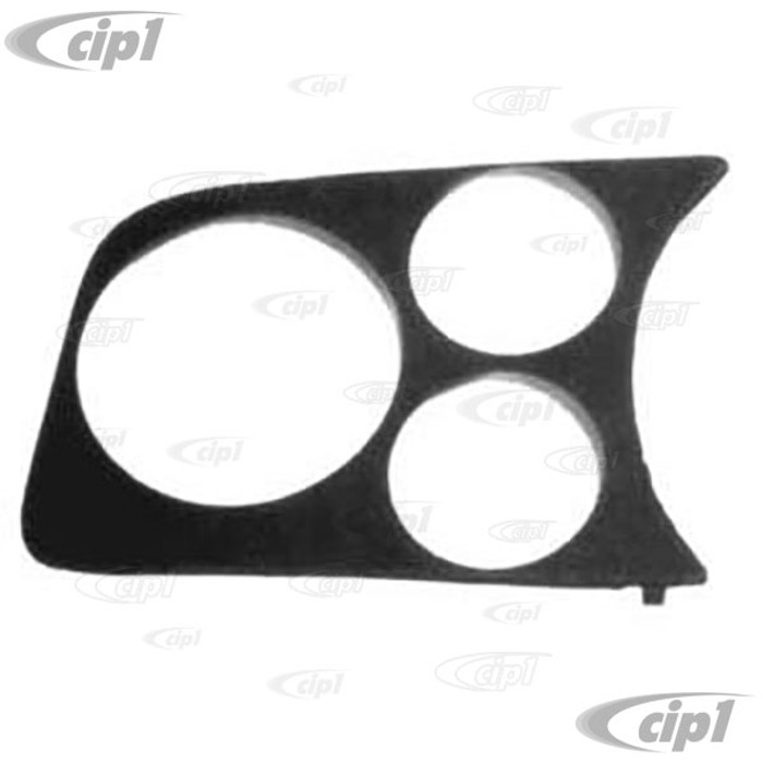 C13-14-1003 - 2 GAUGE - 1 TACH HOLE PANEL - LEFT SIDE OF DASH 58-77 STD BEETLE FITS  2-1/16 & 3-1/8 inch  BLACK