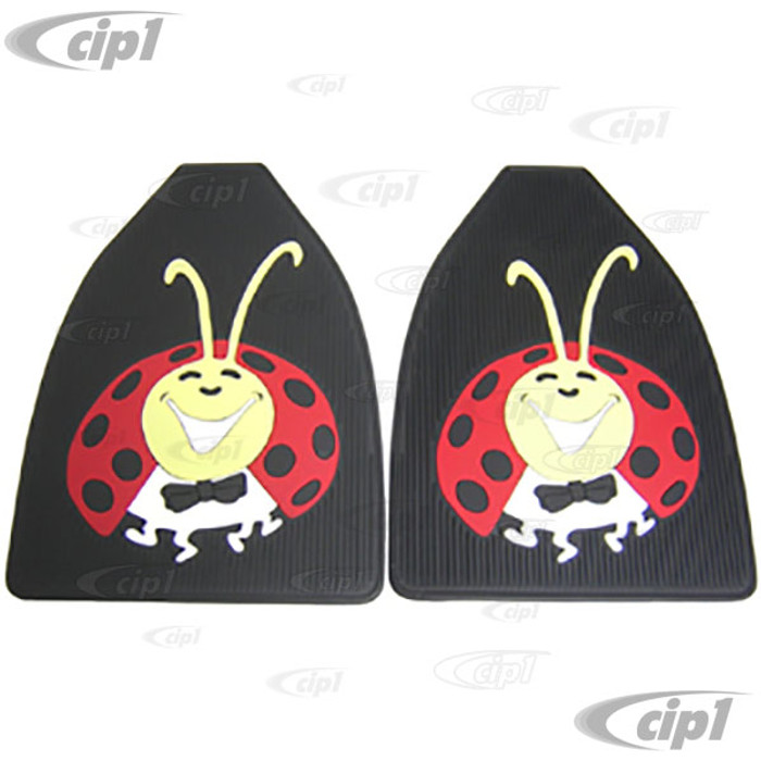 C13-15-1097 - EMPI - LADY BUG FLOOR MATS - COLORED RUBBER - FRONT BEETLE - PAIR