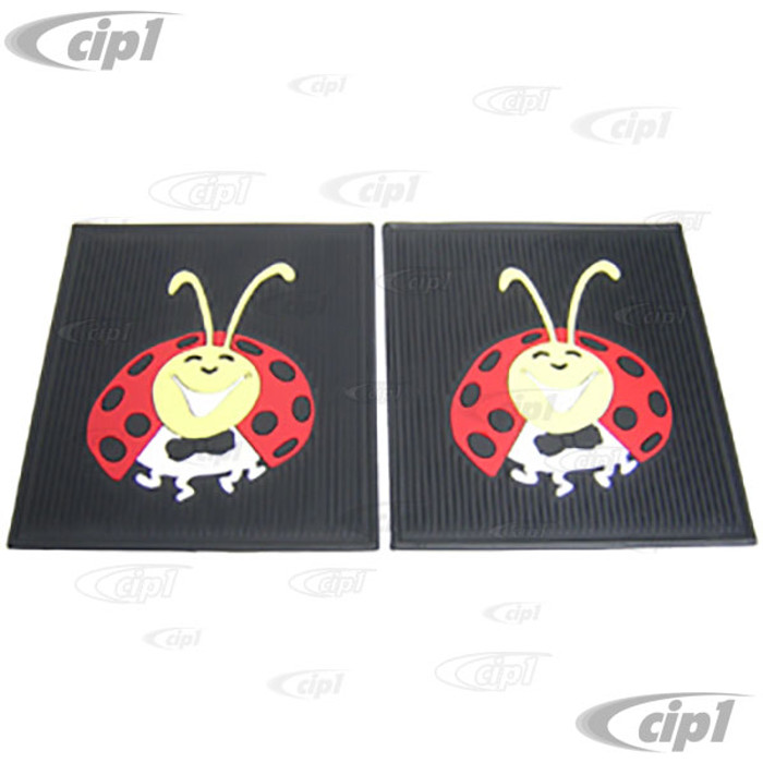 C13-15-1098 - EMPI - LADY BUG FLOOR MATS - COLORED RUBBER - REAR BEETLE - PAIR