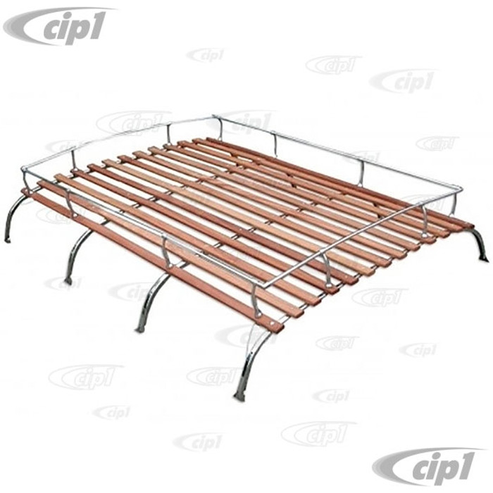 C13-15-2011-4SS - CIP1 EXCLUSIVE - STAINLESS STEEL 4 BOW VINTAGE STYLE ROOF RACK WITH ROSE COLORED WOOD BOWS - KNOCK-DOWN STYLE AND SHIPPABLE BY UPS - BUS 52-79  - SOLD EACH