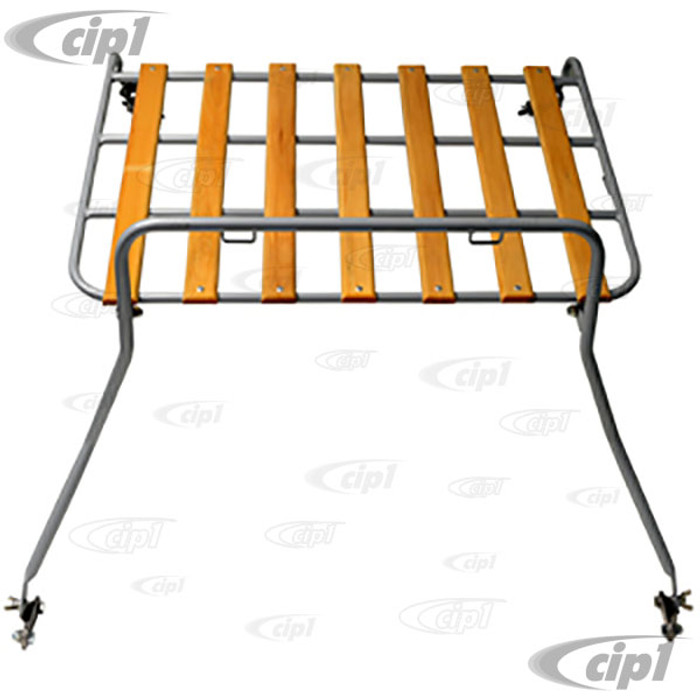C13-15-2014 - EMPI - DECK LID LUGGAGE RACK - SILVER POWER COATED FRAME WITH WOOD SLATS - MOUNTING HARDWARE INCLUDED - BEETLE SEDAN 46-67 - SOLD EACH