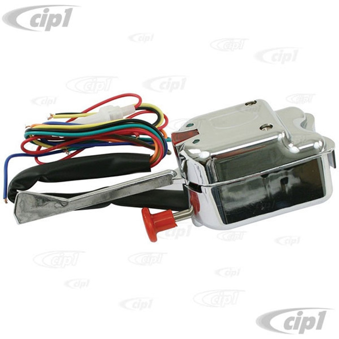 C13-16-2101 - CHROME COLUMN MOUNT UNIVERSAL TURN SIGNAL SWITCH FOR KIT CAR OR DUNE BUGGY - MOUNTS TO ROUND OR FLAT SURFACE - SOLD EACH