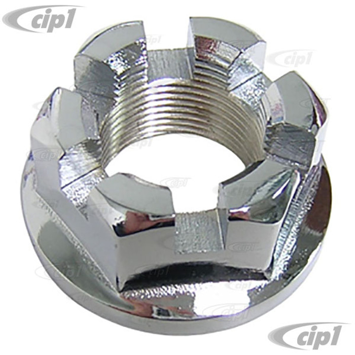 C13-16-2420 - (311-501-221 311501221) - GOOD QUALITY - CHROMED 36MM SLOTTED REAR AXLE NUT - M24 X 1.5 - ALL BEETLE/GHIA/TYPE-3/THING / BUS 50-63 - SOLD EACH