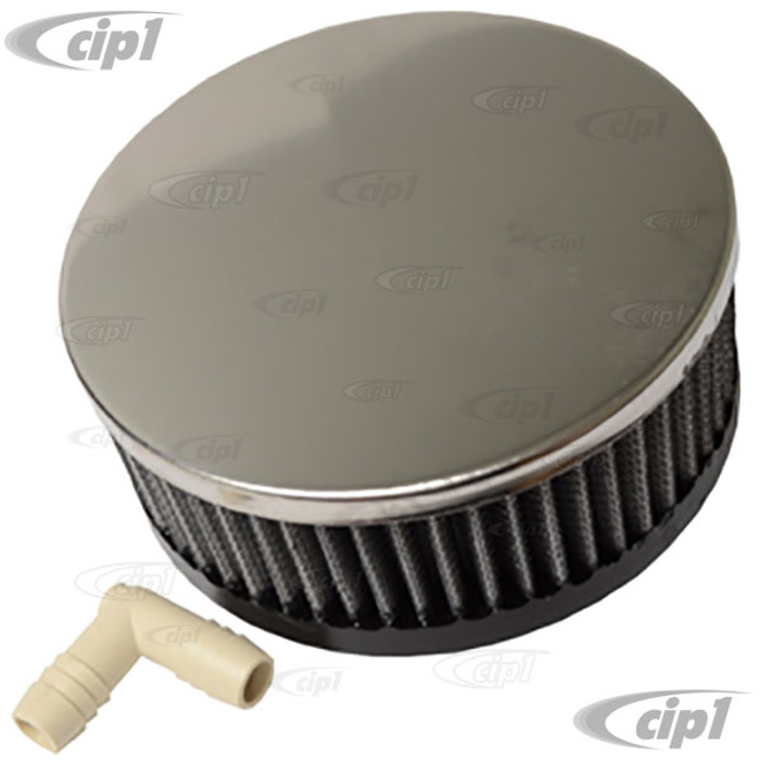 C13-17-2978 - EMPI - RUBBER FLANGE GAUZE AIR CLEANER - ROUND – 2 INCH NECK – 5-1/4 IN. DIA. X 2-3/4 IN. HIGH
