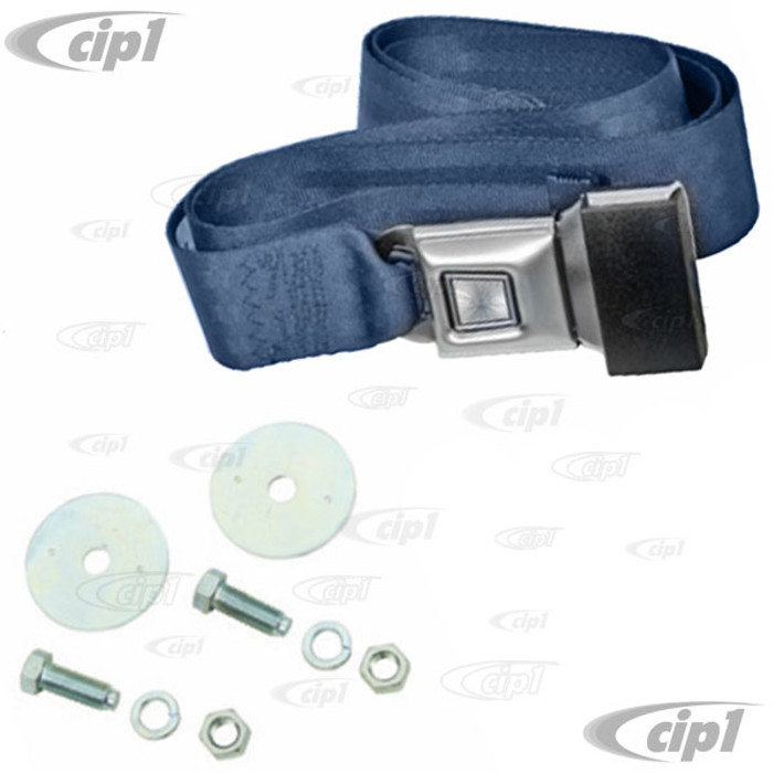 C13-18-1020 - EMPI - 2 POINT LAP BELT - UNIVERSAL 72 INCH BLUE FOR ALL FRONT OR REAR - WITH PUSH BUTTON LATCH AND HARDWARE - MADE IN THE USA - SOLD EACH