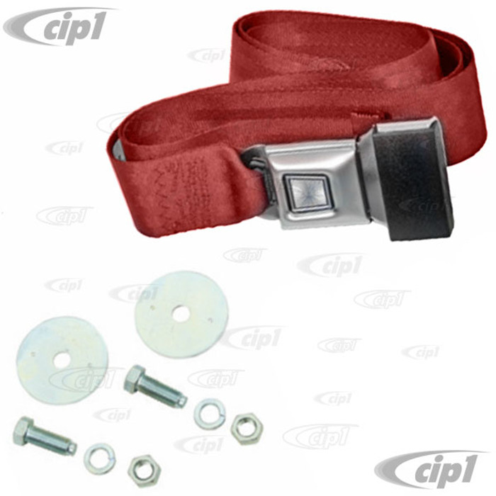 C13-18-1021 - EMPI - 2 POINT LAP BELT - UNIVERSAL 72 INCH RED FOR ALL FRONT OR REAR - WITH PUSH BUTTON LATCH AND HARDWARE - MADE IN THE USA - SOLD EACH