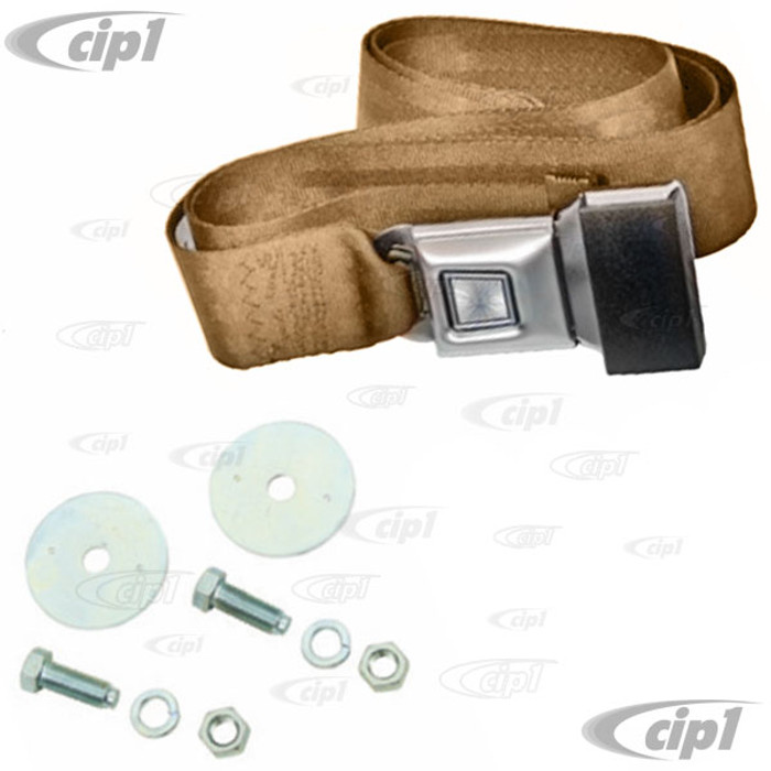 C13-18-1022 - EMPI - 2 POINT LAP BELT - UNIVERSAL 72 INCH TAN FOR ALL FRONT OR REAR - WITH PUSH BUTTON LATCH AND HARDWARE - MADE IN THE USA - SOLD EACH