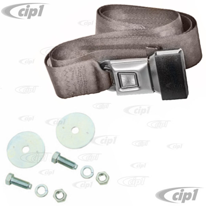 C13-18-1023 - EMPI - 2 POINT LAP BELT - UNIVERSAL 72 INCH GREY FOR ALL FRONT OR REAR - WITH PUSH BUTTON LATCH AND HARDWARE - MADE IN THE USA - SOLD EACH