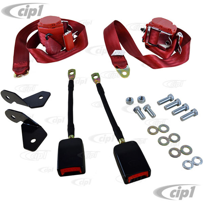 C13-18-1029 - EMPI - PAIR OF RED 3 POINT RETRACTABLE EUROPEAN STYLE SEATBELTS - WITH BRACKETS & MOUNTING HARDWARE - BEETLE - SOLD SET