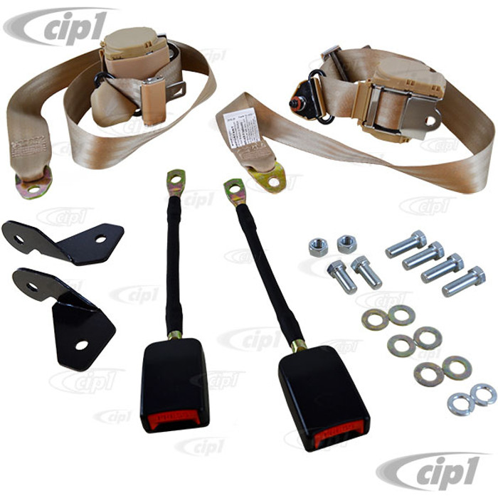 C13-18-1030 - EMPI - PAIR OF TAN 3 POINT RETRACTABLE EUROPEAN STYLE SEATBELTS - WITH BRACKETS & MOUNTING HARDWARE - BEETLE - SOLD SET