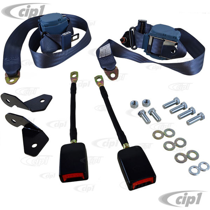 C13-18-1031 - EMPI - PAIR OF BLUE 3 POINT RETRACTABLE EUROPEAN STYLE SEATBELTS - WITH BRACKETS & MOUNTING HARDWARE - BEETLE - SOLD SET