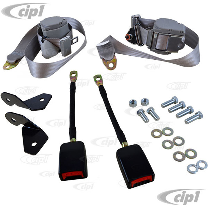 C13-18-1032 - EMPI - PAIR OF GREY 3 POINT RETRACTABLE EUROPEAN STYLE SEATBELTS - WITH BRACKETS & MOUNTING HARDWARE - BEETLE - SOLD SET