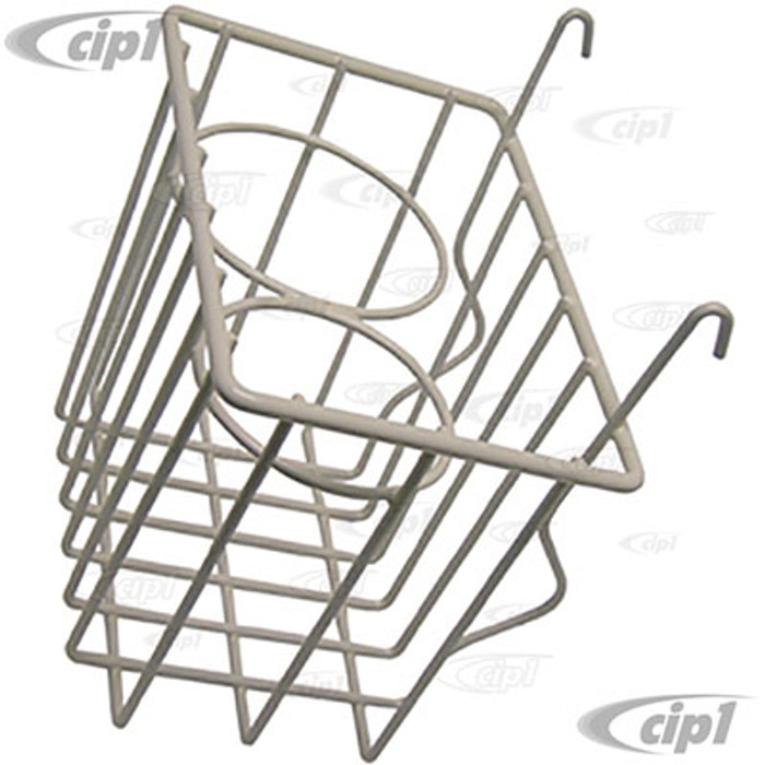 C13-18-1069 - EMPI - WHITE STOW AWAY BASKET AND CUP HOLDER - CLIPS ONTO DASH - BUS 52-67 - SOLD EACH