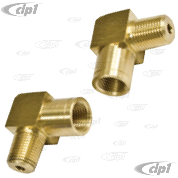 C13-18-1107 - EMPI - CONVERSION BRAKE LINE FITTING - 90 DEGREE MALE 1*/8 INCH NPT TO FEMALE 10MM X 1.0 BUBBLE FLARE - SOLD PAIR