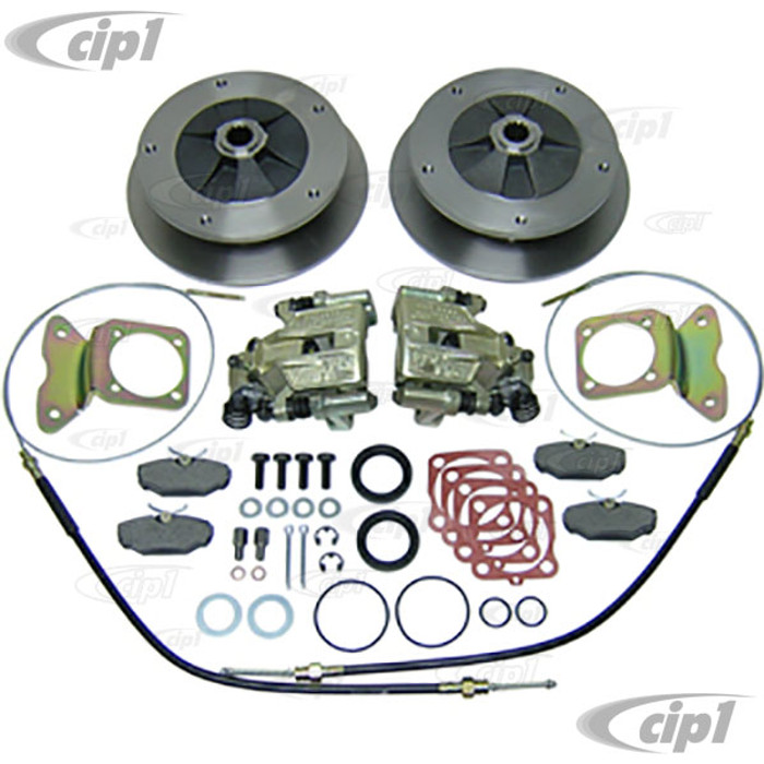 C13-22-2906 - EMPI - WIDE 5 BOLT REAR DISC BRAKE KIT-WITH E-BRAKE CABLES - BEETLE/GHIA WITH I.R.S. REAR SUSP. 68-72 - (A40)