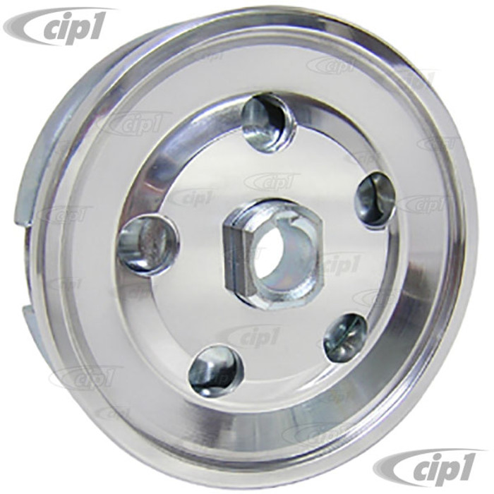 C13-33-1041 - HEAVY-DUTY BILLET ALUMINUM OUTER WITH CHROME STEEL INNER - 12VOLT ALTERNATOR / GENERATOR PULLEY - BEETLE 67-79 / GHIA 67-74 / BUS 67-71 / THING 73-74 - SOLD EACH