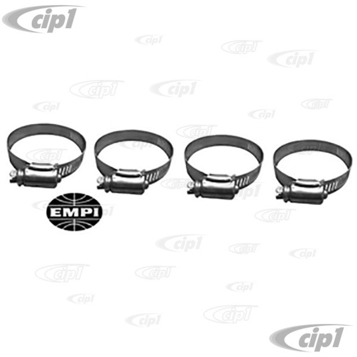 C13-3380 - EMPI BRAND - SET OF 4 STAINLESS STEEL FRESH-AIR HEATER HOSE CLAMPS - ALL BEETLE STYLE ENGINES - SOLD SET OF 4