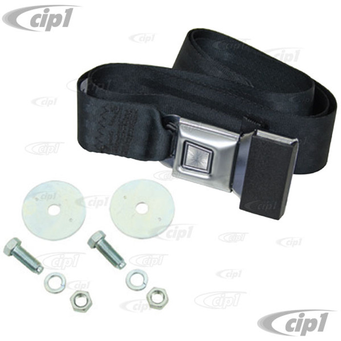 C13-3844 - 2 POINT LAP BELT - UNIVERSAL 72 INCH BLACK FOR ALL FRONT OR REAR - WITH PUSH BUTTON LATCH AND HARDWARE - MADE IN THE USA - SOLD EACH