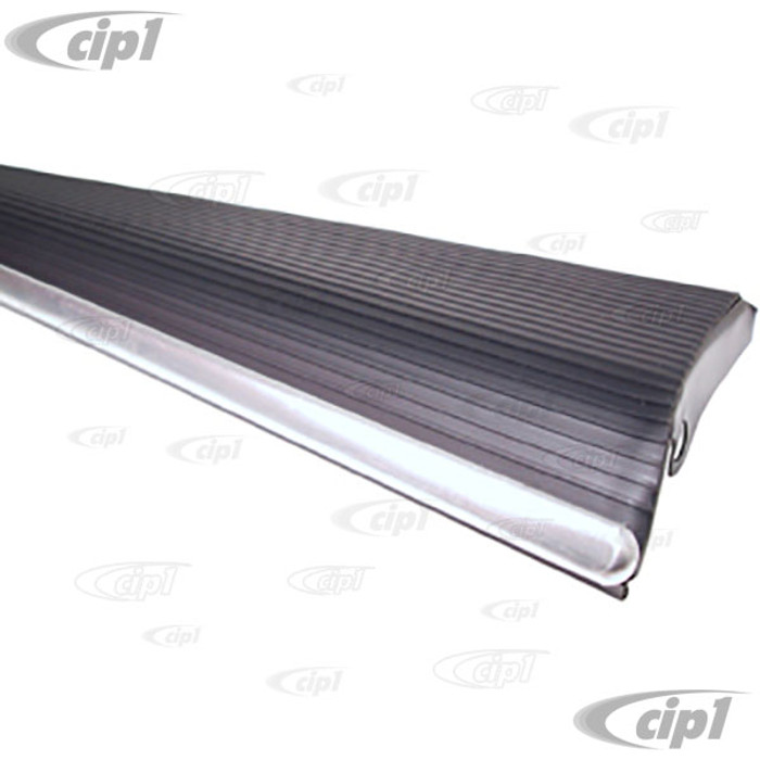 ACC-C10-3086-75 -  (111-821-510 - 111821510) GERMAN QUALITY BLACK RUNNING BOARD W/18MM WIDE CHROME STRIP RIGHT - BEETLE 46-79  - SOLD EACH