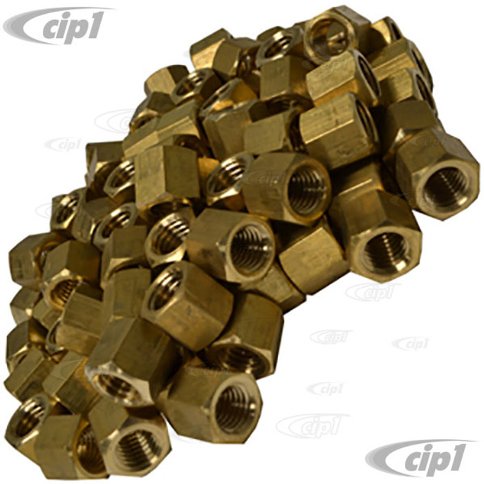 C13-43-6051-B - BAG OF 100 - BRASS EXHAUST / INTAKE NUTS 11MM O.D. X 8MM THREAD - SOLD BAG OF 100