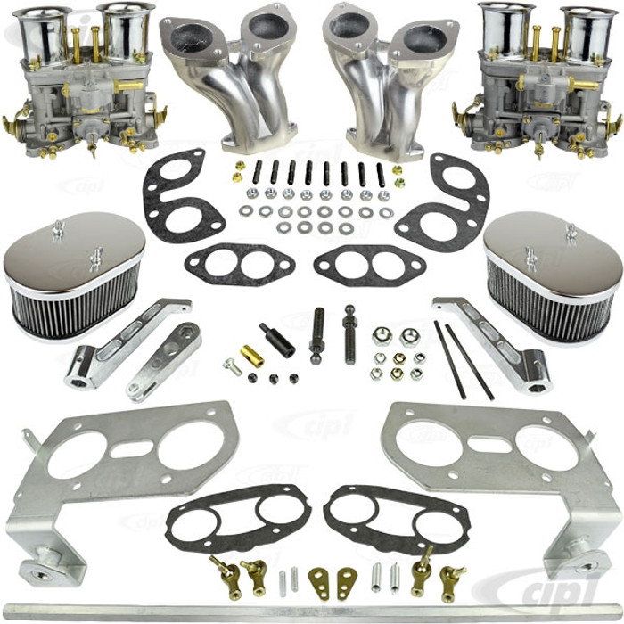 C13-47-7317-CMKT - CIP1 PREMIUM QUALITY - COMPLETE DUAL 40MM/44MM OR 48MM WEBER IDF/HPMX STYLE CARBURETOR KIT - FITS BEETLE/GHIA/BUS - FITS BEST WITH 36HP FAN SHROUD - STOCK FAN SHROUD MAY NEED MODIFICATIONS - SOLD KIT