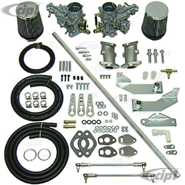 C13-47-7401 - DUAL EMPI 34MM EPC CARB KIT W/ HEX BAR LINKAGE FOR SINGLE PORT TYPE-1 BEETLE STYLE ENGINES - (A20)