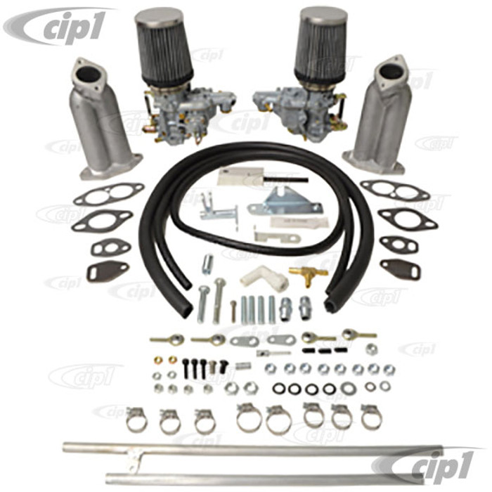 C13-47-7421 - DUAL EMPI 34MM EPC CARB KIT WITH EXTRA TALL INTAKE MANIFOLDS - WITH TWIST-PULL LINKAGE FOR DUAL PORT TYPE-1 BEETLE STYLE ENGINES - SOLD KIT