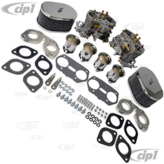 C13-48-1291 - EMPI - DUAL 40MM HPMX CARBURETOR KIT WITH CHROME AIR CLEANERS – 356/912 ENGINES -SOLD EACH