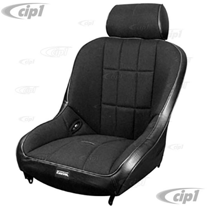 C13-62-2767 - EMPI - RACETRIM WIDE BASE LOW-BACK FULL SUSPENSION SEAT - BLACK VINYL - BLACK FABRIC - SOLD EACH - (A50)