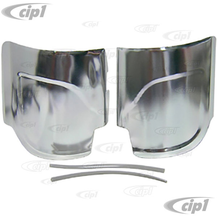C13-6434 - EMPI BRAND - ALUMINUM REAR FENDER GUARDS WITH PLASTIC TRIM - BEETLE 46-79 - SOLD PAIR