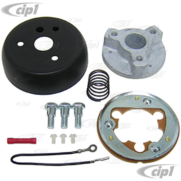 C13-79-4015 - GT STEERING WHEEL HUB ADAPTER - FIT THE STANDARD GRANT 3 BOLT PATTERN - BEETLE 62-73 - GHIA 60-73 -  TYPE-3 62-73 - SEE NOTES ABOUT WHICH WHEELS THIS FITS