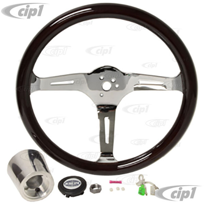 C13-79-4021 - EMPI – CLASSIC DARK WOOD STEERING WHEEL KIT – 380MM DIA. WITH 31MM THICK GRIP – INCLUDES BILLET ALUMINUM BOSS/ADAPTER – FITS BEETLE/GHIA 60-74 - TYPE-3 61-71