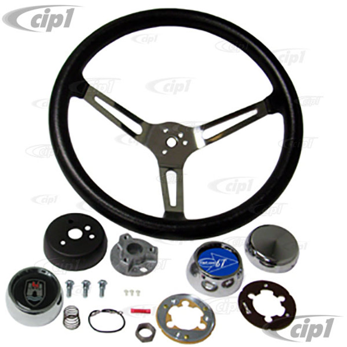 C13-79-4021-KIT - GTV STYLE STEERING WHEEL KIT - 15  INCH DIAMETER - 4-1/4 INCH DISH - 3 STAINLESS STEEL SLOTTED SPOKES - WITH CHOICE OF HORN BUTTON