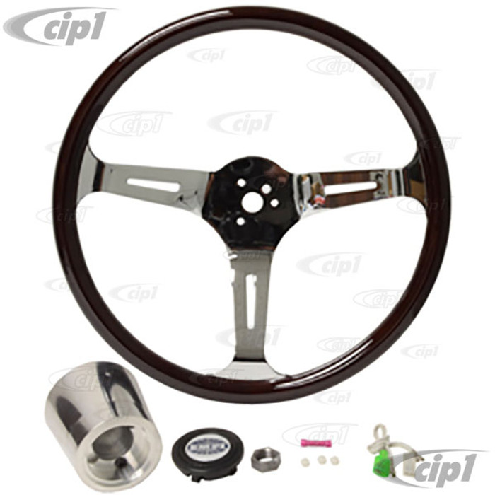 C13-79-4022 - EMPI - CLASSIC DARK WOOD STEERING WHEEL KIT – 380MM DIA. WITH 23MM THICK GRIP – INCLUDES BILLET ALUMINUM BOSS/ADAPTER – FITS BEETLE/GHIA 60-74 - TYPE-3 61-71