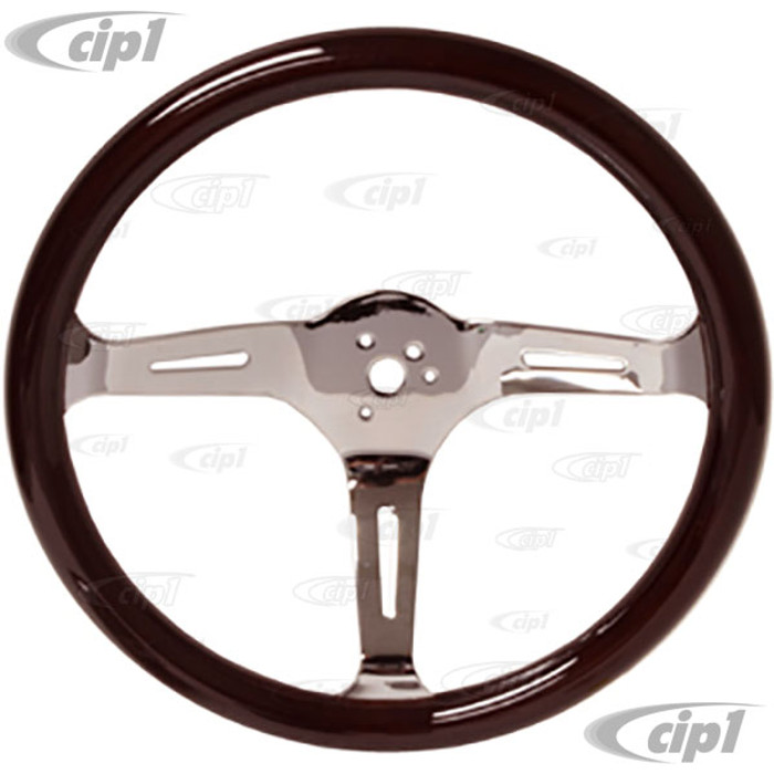 C13-79-4026 - EMPI – CLASSIC WOOD STEERING WHEEL KIT – 380MM DIA. WITH 31MM THICK GRIP – INCLUDES BILLET ALUMINUM BOSS/ADAPTER – FITS BEETLE/GHIA 60-74 - TYPE-3 61-71