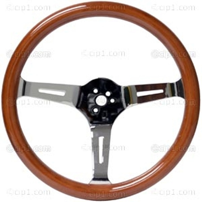 C13-79-4026-KIT - CLASSIC WOOD STEERING WHEEL KIT (31MM GRIP) - 15 INCH (380MM) DIAMETER - 3 INCH DISH - 3 CHROME STEEL SLOTTED SPOKES - WITH CHOICE OF HORN BUTTON