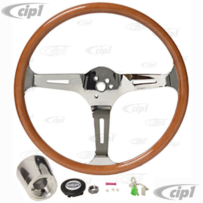 C13-79-4028 - EMPI - CLASSIC WOOD STEERING WHEEL KIT – 380MM DIA. WITH 23MM THICK GRIP – INCLUDES BILLET ALUMINUM BOSS/ADAPTER – FITS BEETLE/GHIA 60-74 - TYPE-3 61-71