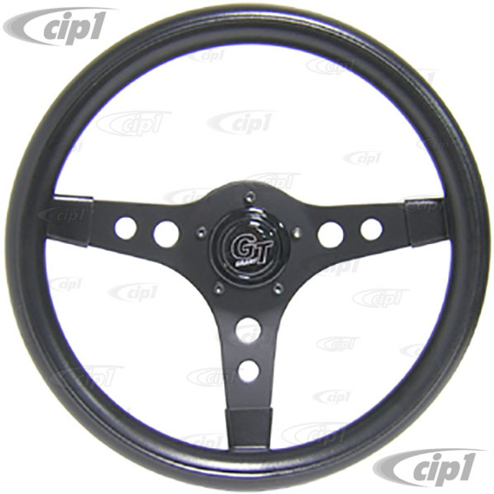 C13-79-4030 - 13 INCH - SPORT STEERING WHEEL - BLACK WITH 3 BLACK SPOKES - 3.5 INCH DISH (USE WITH EMPI/GRANT HUB ADP. - SOLD SEP.)
