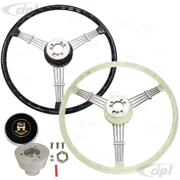 C13-79-4060-KIT - EMPI COMPLETE BANJO STYLE STEERING WHEEL KIT WITH HUB/BOSS ADAPTER AND HORN BUTTON - YOUR CHOICE OF BLACK - IVORY OR SILVER/GREY WHEEL - BEETLE/GHIA 49-74 - TYPE-3  61-71 - SOLD 3 PIECE KIT