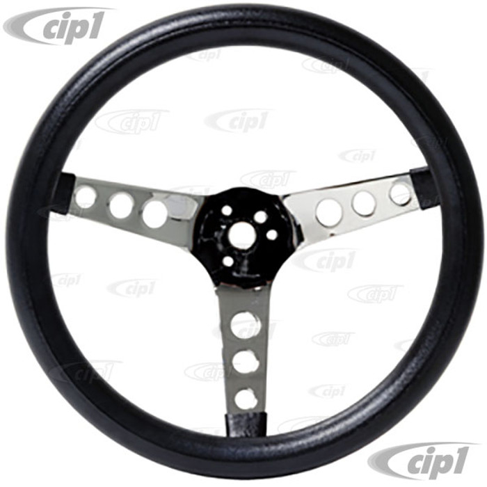 C13-79-4110 - EMPI – POLY FOAM CHROME STEERING WHEEL – 3 SPOKE – 13-1/2 INCH DIA. - 3-1/2 INCH DISH (HUB ADAPTER / HORN BUTTON SOLD SEP.) – SOLD EACH