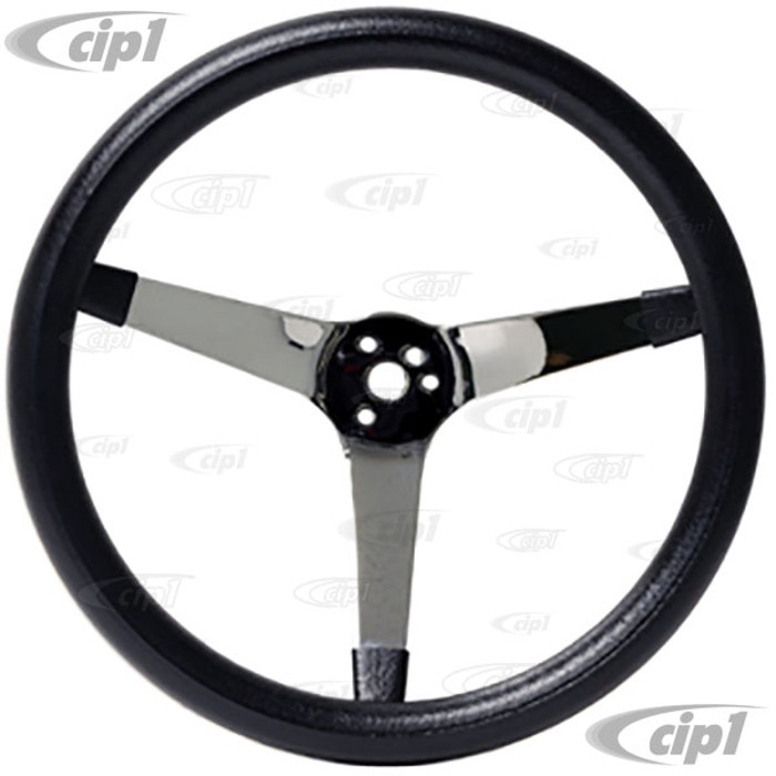 C13-79-4113 - EMPI – POLY FOAM CHROME STEERING WHEEL – 3 SPOKE – 14-3/4 INCH DIA. – 4.00 INCH DISH (HUB ADAPTER / HORN BUTTON SOLD SEP.) – SOLD EACH