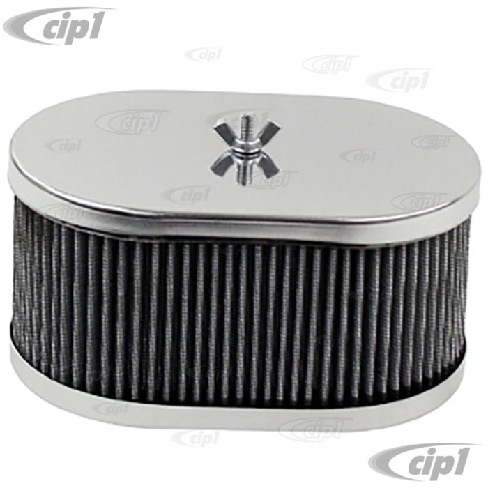 C13-8714 - EMPI - CHROME OVAL AIR CLEANER ASSEMBLY - 3-1/2 INCH HIGH - FITS EMPI HPMX / WEBER 40-44-48MM IDF & DELLORTO DRLA - SOLD EACH