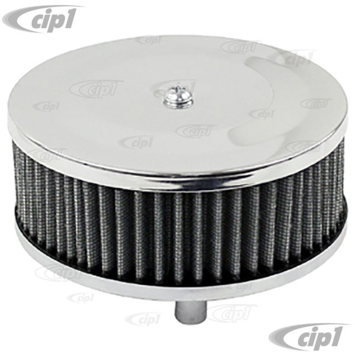 C13-9044 - EMPI - CHROME ROUND AIR CLEANER – FOR STOCK CARB. – 3 INCH TALL WITH GAUZE ELEMENT – SOLD EACH