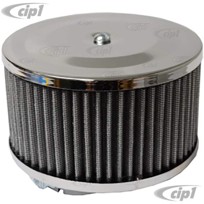 C13-9045 - EMPI - CHROME ROUND AIR CLEANER – FOR STOCK CARB. – 4 INCH TALL WITH GAUZE ELEMENT – SOLD EACH