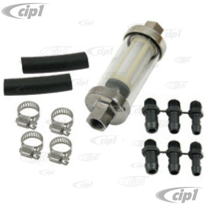 C13-9065 - EMPI -INLINE UNIVERSAL SEE-THRU FUEL FILTER KIT - WITH 1/4 - 5/16 - 3/8 INCH FITTINGS - WITH HOSE AND CLAMPS - SOLD KIT