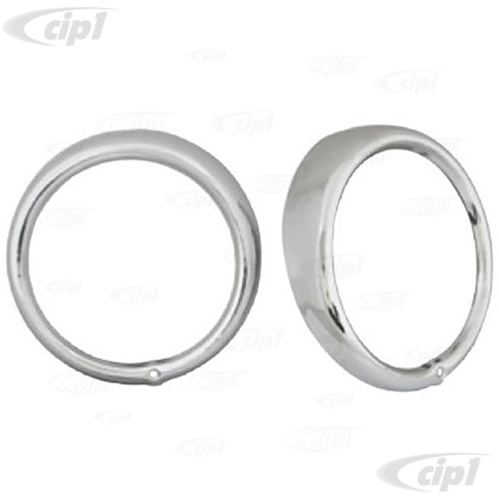 C13-9479 - EMPI (311-941-177A 311941177) GOOD REPRODUCTION - CHROME HEADLIGHT RIMS/RING - BEETLE 67-79 / BUS 68-79 / TYPE-3 62-74 / THING - SOLD PAIR