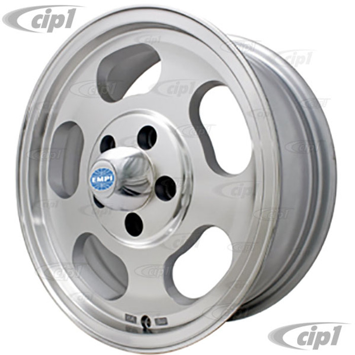 C13-9749 - EMPI ALUMINUM ALLOY SLOTTED DISH WHEEL - 5.5X15 INCH - 112MM 5-BOLT PATTERN - BUS 71-79 - CENTER CAP AND VALVE STEM INCLUDED - H/W SOLD SEPARATELY - SOLD EACH-(A20)