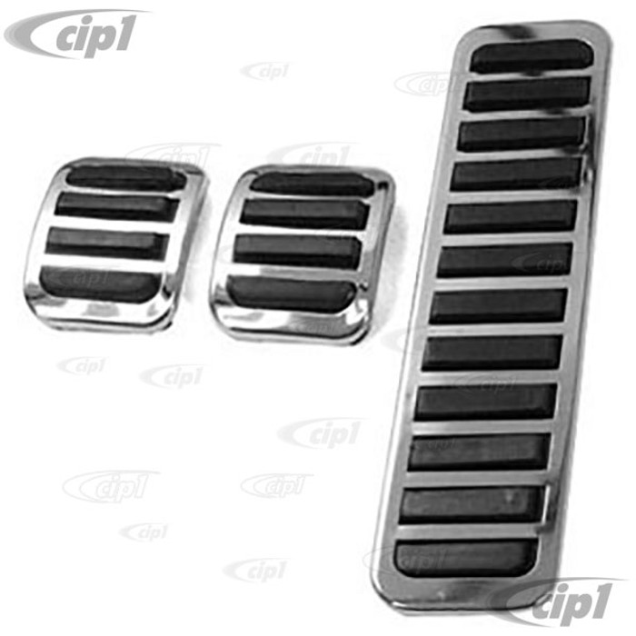 ACC-C10-3625 - CHROME PEDAL COVER 3PC KIT - BEETLE 58-79 - GHIA 58-74 - TYPE 3 62-74 - THING 73-74